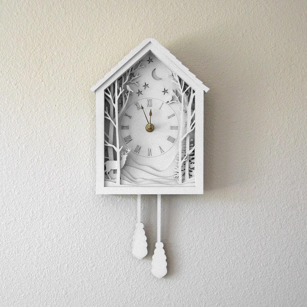 White Cuckoo Clock Winter Midnight Forest Diorama Laser Cut