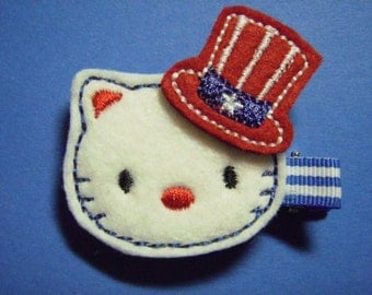 4th of July Felt Hair Clip - Patriotic Kitty - Clippie - For Infant Toddler Girl