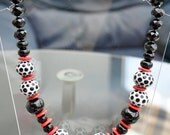 Fabulous Hollow black and White and red Jasper Disc Necklace.