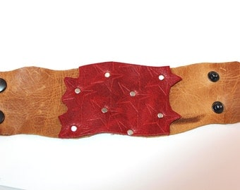 Red and Tan Leather Embossed Cuff as seen in Summer Stringing Magazine 2013 - cowgirl, modern, stars