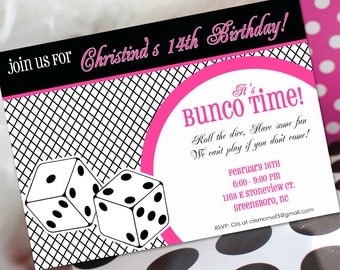 Bunco Birthday Invitation | Bunco Invitation | Bunco Birthday Party | Ladies Birthday | Amanda's Parties To Go