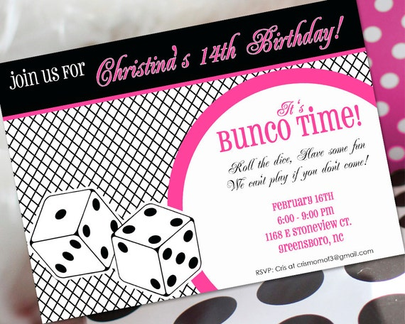 bunco birthday invitation bunco invitation bunco birthday