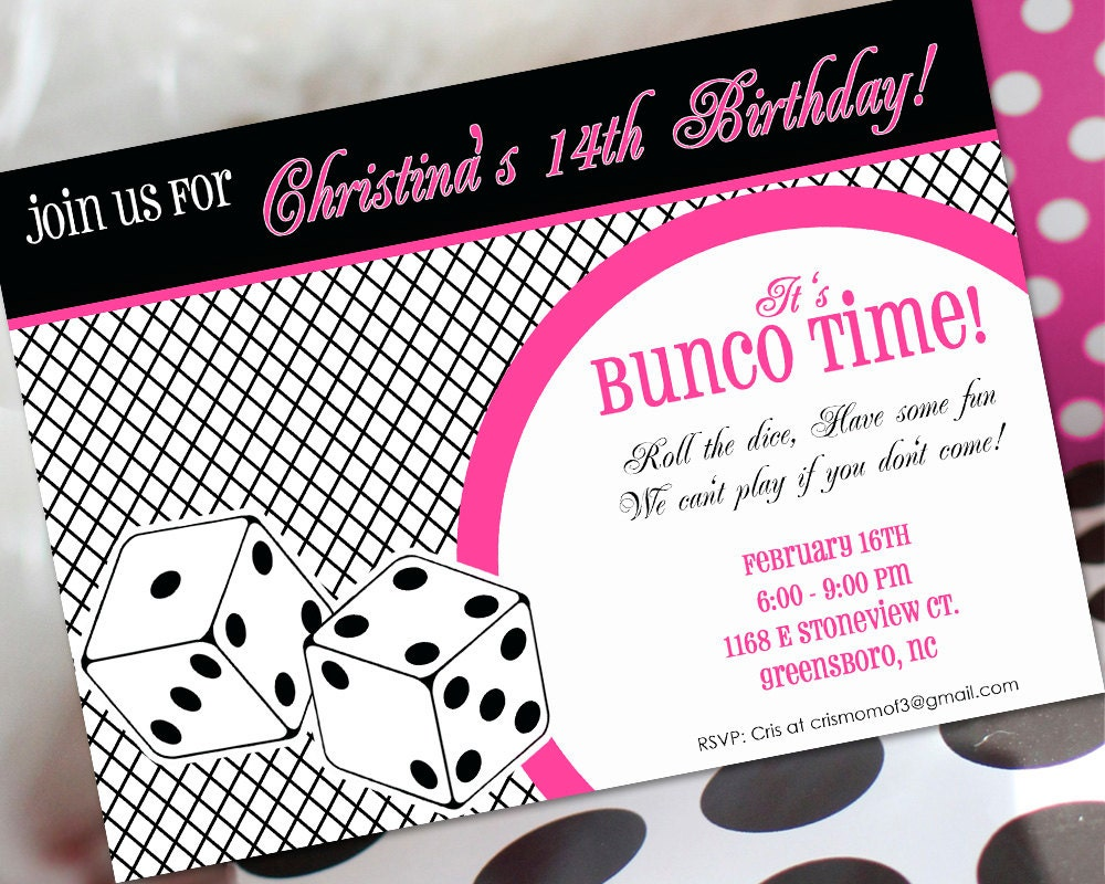 Bunco Birthday Invitation Bunco Invitation Bunco Birthday