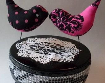Wedding Cake Topper Love Birds Betsey J Whimsical Hot Pink & Black Damask Rhinestones Showers, Home Decor We Ship Internationally