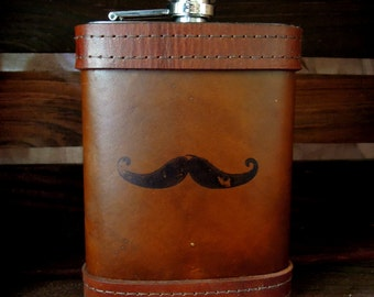 Leather Flask with Rustic Black Mustache