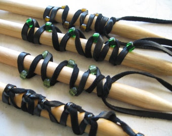 Ponytail Holder  Black Leather Hair Wrap Glass Beads, Feather Leather Extensions You Choose Colors