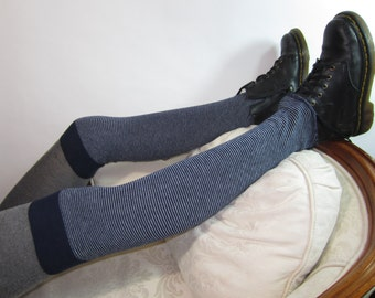 Cashmere Thigh High Boot Socks Navy Blue White Stripe Cotton Blend Over the Knee Socks Knit A973