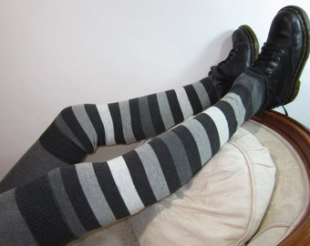 Thigh High Leg Warmers Charcoal Gray Stripe Cotton Knit Over the Knee Boot Sock Striped A956