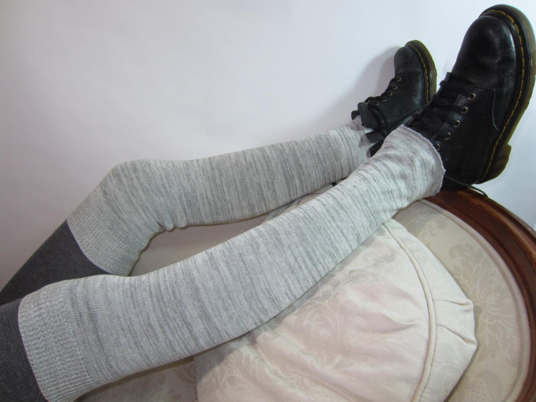 Knitting Pattern Thigh High Leg Warmers : Thigh High Leg Warmers Charcoal Gray Knit Boot Sock Grey A962