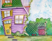 Watercolor Art 18x24 Whimsical House Purple Green and Yellow Dog Theme Random Dwelling 41