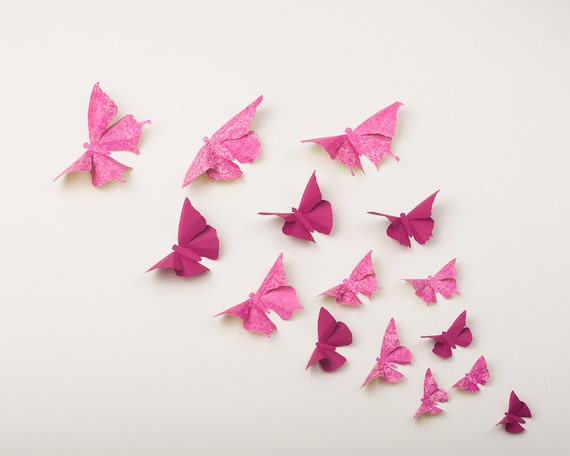 Pink Butterfly Wall Decoration : Pink butterflies d butterfly wall art in raspberry fuchsia