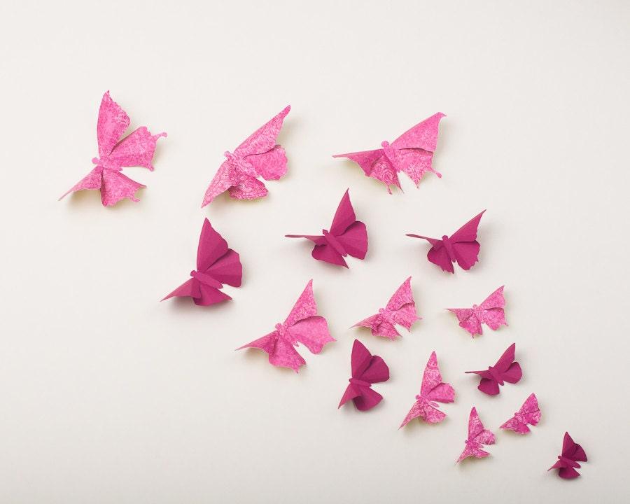 Pink butterflies 3d butterfly wall art in raspberry fuchsia - Butterflies wall decorations ...