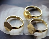 10Pcs 18mm High Quality Adjustable Gold Copper Ring Blanks with 11mm Round Flat Pad   -(RINGSS-81)