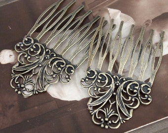 50Pcs Wholesale Antique bronze plated Brass Filigree hair comb Setting NICKEL FREE(COMBSS-4)