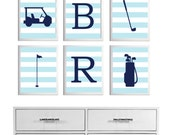 Personalized Golf Sports Nursery Baby Girl Boy Baby Blue Navy Stripes Prep more colors available set of 6 each 11x14