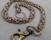 Brass, Copper, and Stainless Steel Byzantine Wallet Chain