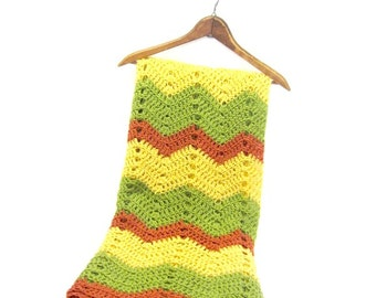 Hand Crocheted Light Weight Fall Autumn Chevron Green Yellow Burnt Orange Afghan Throw Blanket