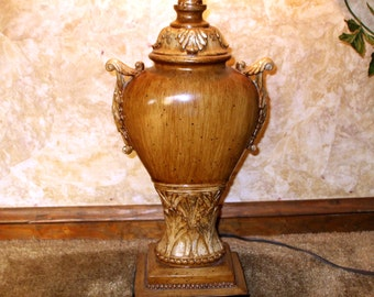 Large Urn Lamp Pottery Ceramic Porcelain Ornate Antique Rustic Design Vintage Light Lighting