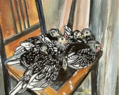 Chicken Art Print Sleeping Chicks Black and white poultry artwork sleepy country decor antique chair brown white home decor