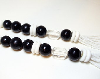 Beaded Necklace- 1980 Bling- Vintage- 30 Inches- Black- White- Multistrand- Vintage Jewelry
