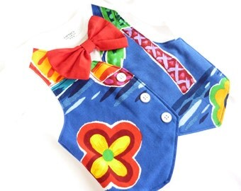 Colorful Hawaiian Tuxedo Bodysuit Vest with Matching Bow Tie