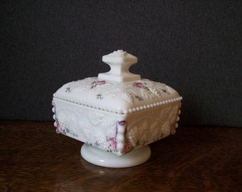 Vintage Milk Glass Westmoreland Handpainted Covered Pedestal Dish Roses and Bows