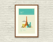 Paris Poster, City Art Print - 12 x 18 Minimalist, Nursery, Love, Graphic, Mid Century Modern, Vintage Style, Retro Home