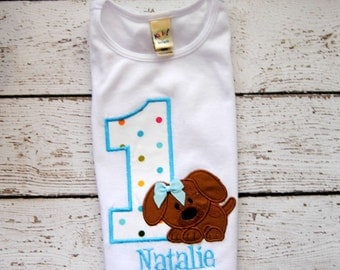 Puppy Birthday Shirt or Bodysuit with Name Personalized