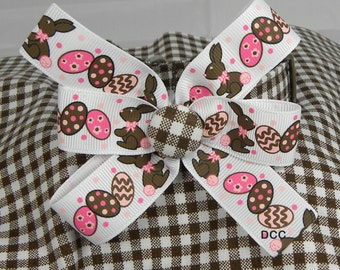 Dog Collar Checkered Brown White Collar w Milk Chocolate Easter Bunnies Colorful Eggs on Ribbon Bow Choose Size  Adjustable with D Ring