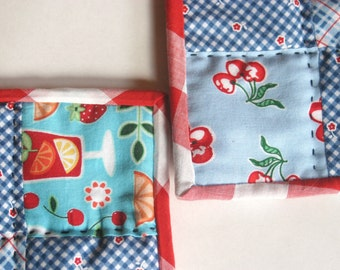 2 Patchwork Potholders - Red and Blue, Handquilted