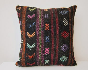 Handwoven Turkish Rug Pillow Cover, Oriental  Pillows, Accent Pillow, Throw Pillow,  Kilim Pillow Cover, Vintage Pillow, Lumbar Pillow