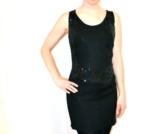 90s Vintage Black Party Dress with Sequins Size Small/Medium// Vintage 90s Prom Dress Black Sequin Dress Size Small/Medium
