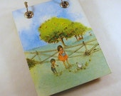Large Refillable  Notepad - Children Feeding Chickens - Blue, Green - Recycled - Upcycled Vintage Kids Book - RagAndBoneDesign