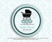 Printable PDF - Baby Shower for Boy or Neutral - Vintage Stroller for Gift Tags, Favor Tags, Cupcake Toppers - DIY and Print Your Own