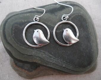 Mod Silver Bird Earrings - Sparrow - Swallow - Bird Jewelry - Simple Everyday Earrings
