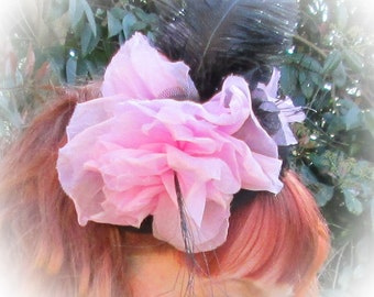 CLEARANCE Pink and Black Flower and Feather Fascinator