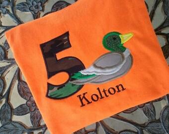 Personalized Duck Birthday Shirt Duck Dynasty Inspired  Birthday Number Shirt