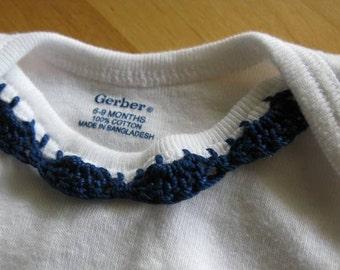 Crochet Edge Onesie - Navy Blue
