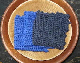 Crochet Baby Washcloths - Blue Set of Three