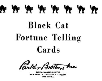 Art Deco Black Cat Fortune Telling Game Instructions Only, Game Instructions Download, Halloween Games, 1920s Era Black Cat Fortune Game