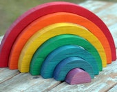 CUSTOM Large Wooden Rainbow Stacking Puzzle Stacker Toy