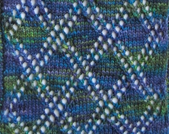 Knit Scarf Pattern:  Lace Blocks Turtleneck Scarf Knitting Pattern