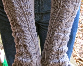 Knit Mitt Pattern:  Drunken Sailor Long Fingerless Mitt Knitting Pattern