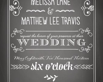 Chic Chalkboard Wedding Invitation Suite - Printable