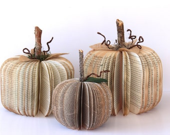 Set of 3 VINTAGE BOOK PUMPKINS /// Small Medium and Large /// Made to Order
