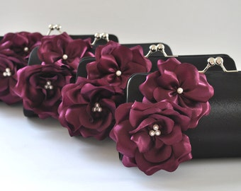 Set of 9  Bridesmaid clutches / Wedding clutches  - Custom Color