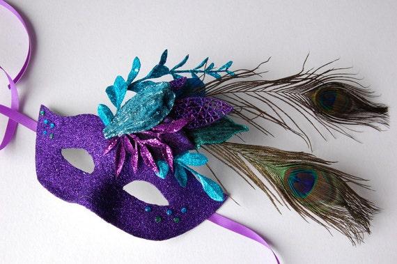 MASK- Purple Peacock- masquerade mask, Mardi Gras, ballroom, fairy, Venetian, Halloween