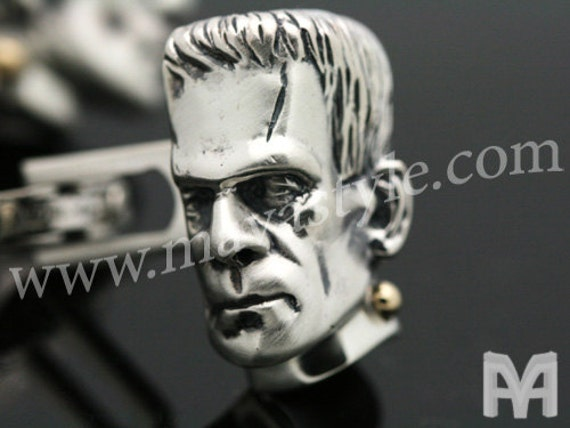 Sterling Silver & Gold Frankenstein's Monster Cufflinks