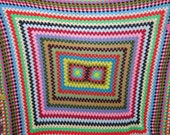 "Rainbow Vintage 1970s Colorful Crochet Blanket Bedspread Full Queen 80"" X 88"""