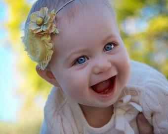 Vintage Collection Shabby Yellow Headband  (Newborn, Toddler, Child)